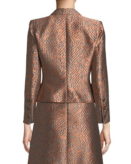 One-Button Classic Metallic Jacquard Jacket