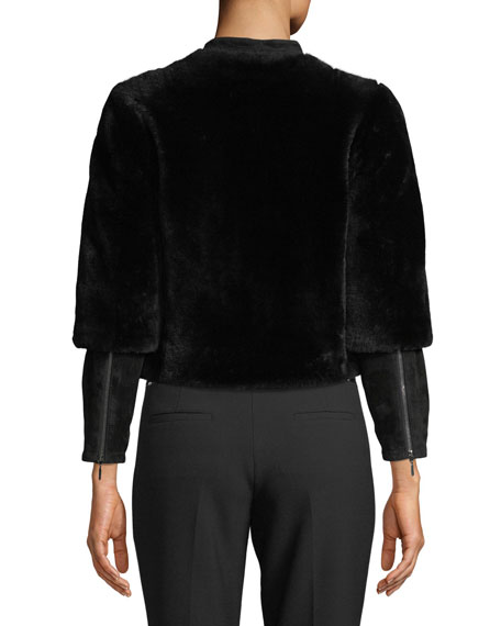 Cropped Shearling Fur Zip-Front Jacket w/ Suede Sleeve Detail