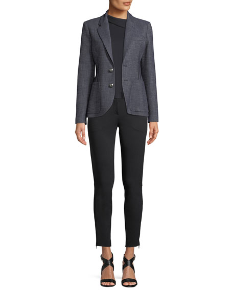 Fitted Straight-Leg Milano Jersey Sport Pants w/ Zip Detail