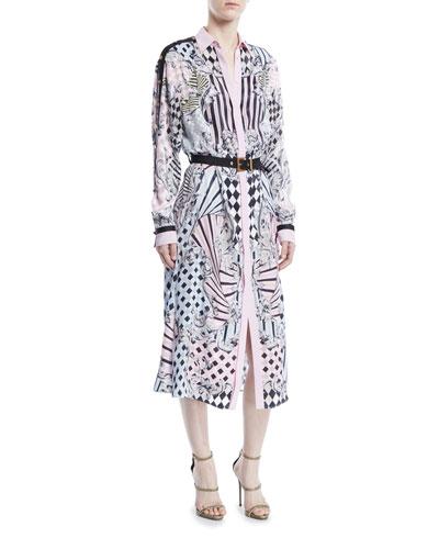 Button-Front Long-Sleeve Devore-Print Silk Long Shirtdress