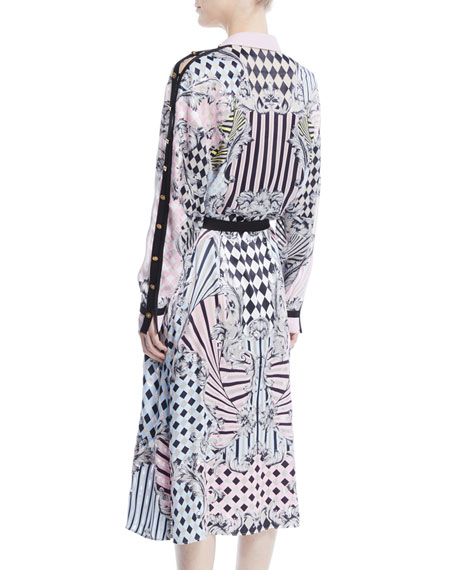 Button-Front Long-Sleeve Devore-Print Silk Long Shirtdress