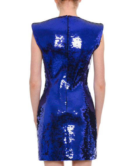 Plunging Sleeveless Sequin Mini Dress