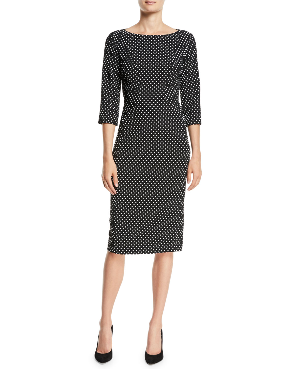 f6620bc19b6 Michael Kors Collection Boat-Neck 3 4-Sleeve Polka-Dot Stretch-Cady ...