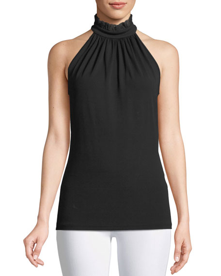 Michael Kors Collection Lace Halter-Neck Stretch-Matte Jersey Top