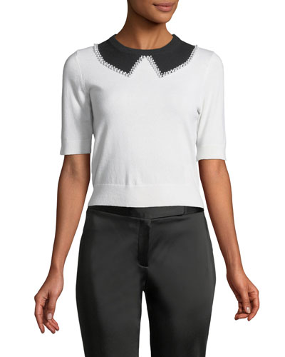 Elbow-Sleeve Faux-Collar Cashmere Sweater with Pearlescent Trim