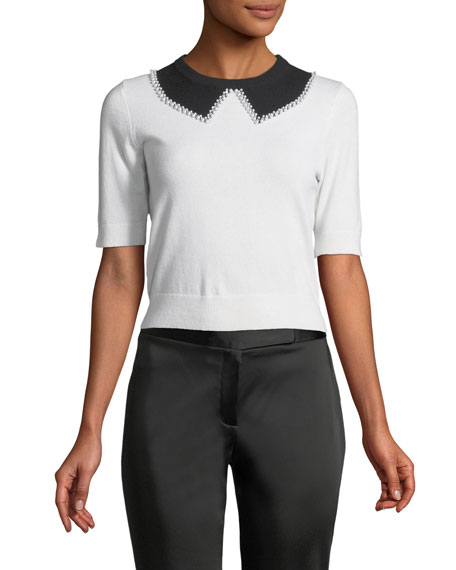 Michael Kors Collection Elbow-Sleeve Faux-Collar Cashmere Sweater