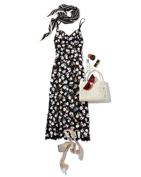 Michael Kors Collection V-Neck Sleeveless Floral Lace Guipure Rose-Embroidered Slip Midi Dress