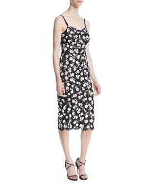 2c5458eccde Michael Kors Collection V-Neck Sleeveless Floral Lace Guipure Rose-Embroidered  Slip Midi Dress