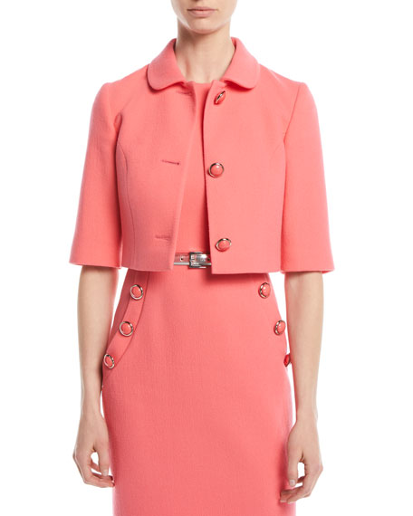 Three-Button Stretch-Boucle Crepe Cropped Jacket, Pink