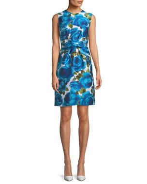 3eebb0cde1 Michael Kors Collection Sleeveless Rose-Jacquard Bow-Belt A-Line Dress