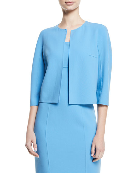 MICHAEL KORS Open-Front Stretch-Wool Crepe Cardigan Jacket in Light Blue