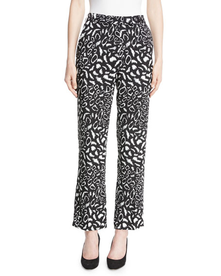 Leopard-Print Straight-Leg Crepe Cropped Pants