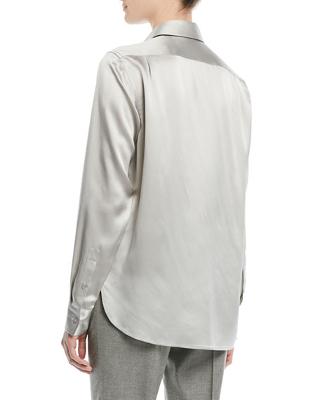 Bacall Button-Front Long-Sleeve Silk Blouse