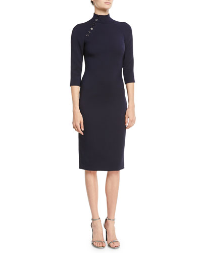 Matilda Turtleneck 3/4-Sleeve Wool Midi Dress