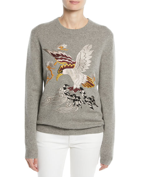 Ralph Lauren Collection Embroidered Eagle Long-Sleeve Cashmere