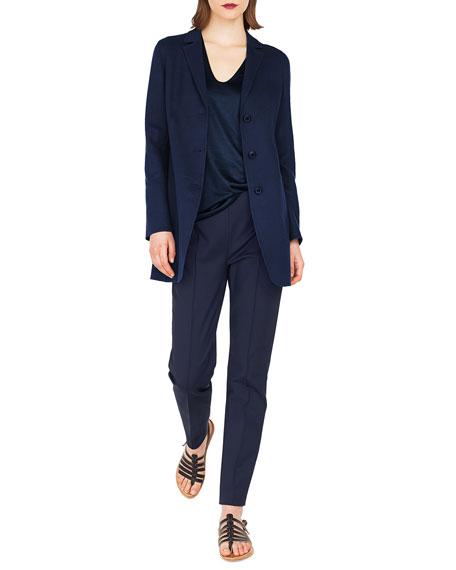 Akris Marion Three-Button Wool-Cashmere Long Jacket