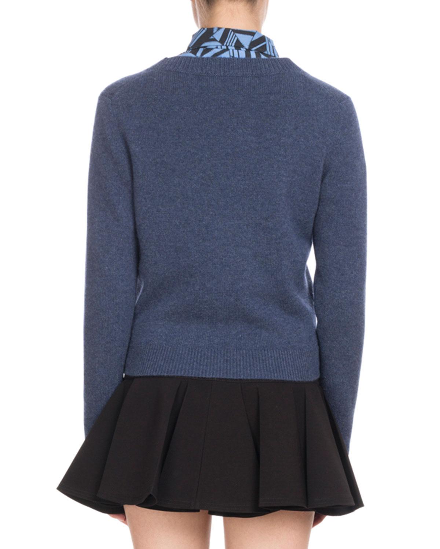 49933f3f96bb41 Chloe V-Neck Button-Front Cashmere Cardigan w/ Fringe Hem | Neiman Marcus