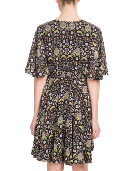 Short-Sleeve V-Neck Blossom-Print Georgette Dress
