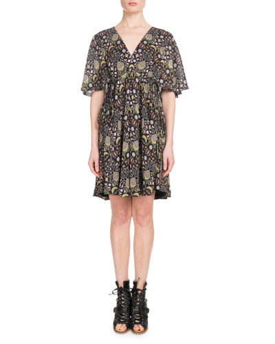 Short-Sleeve V-Neck Blossom-Print Georgette Dress