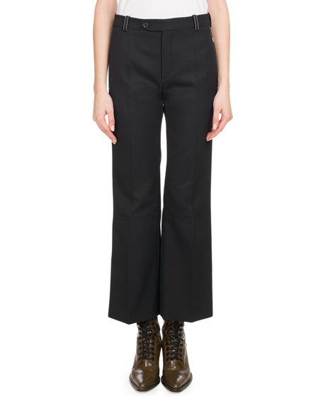 Image 1 of 2: Ankle-Length Flare Wool Pants