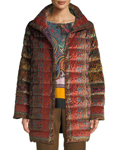 Reversible Paisley-Jacquard Velvet Quilted Mid-Length Puffer Coat, Orange