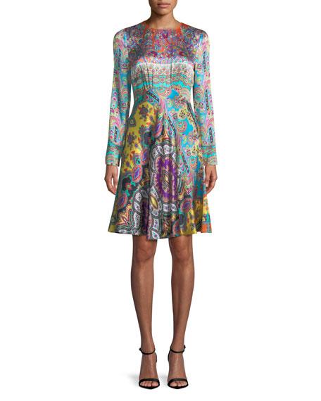 Crewneck Long-Sleeve Paisley-Print Silk Dress