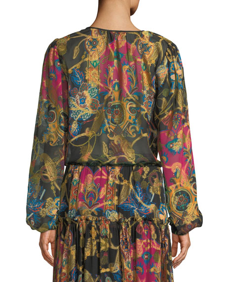 Tie-Neck Long-Sleeve Paisley-Print Silk Peasant Blouse