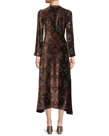 Paisley-Print Velvet A-Line Granny Dress w/ Cravat Trim