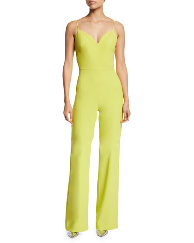 Sweetheart-Neck Cami-Strap Stretch-Crepe Flared-Leg Jumpsuit