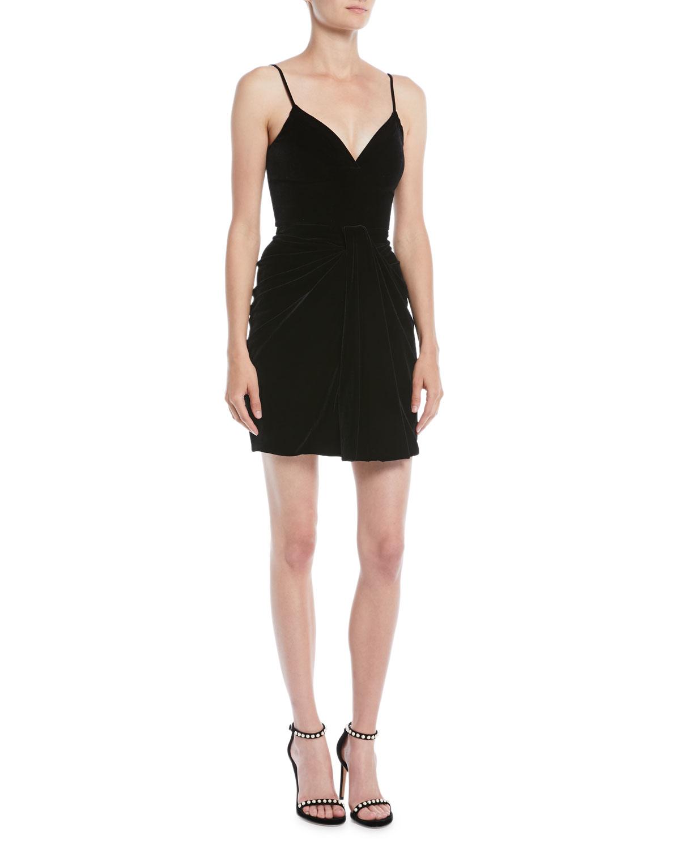 5bf25803917226 Brandon MaxwellSleeveless Sweetheart-Neck Thin-Strap Velvet Mini Dress