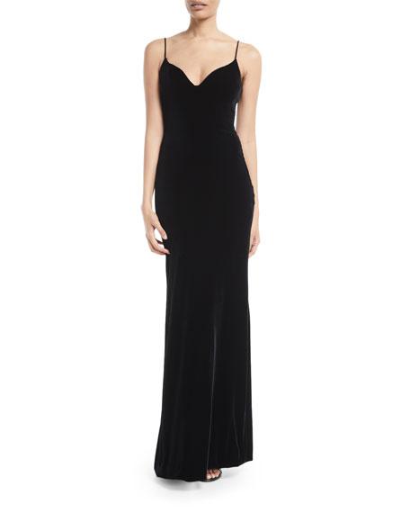 Brandon Maxwell Sweetheart-Neck Sleeveless Thin-Strap Velvet Evening Gown