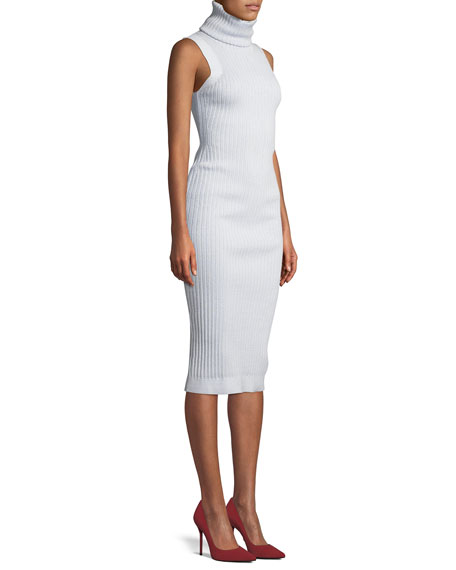 Sleeveless Turtleneck Ribbed Mid-Calf Sheath Dress