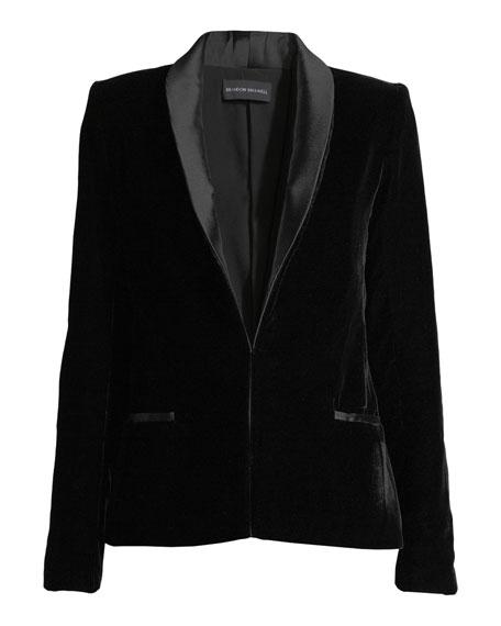 Hook-Front Velvet Smoking Jacket w/ Satin Lapels