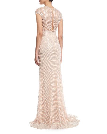 Deep-V Cap-Sleeve Beaded-Embellished Column Evening Gown