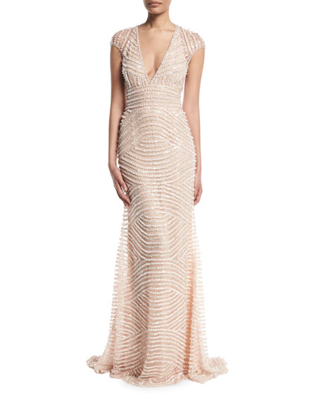 Deep-V Cap-Sleeve Beaded-Embellished Column Evening Gown