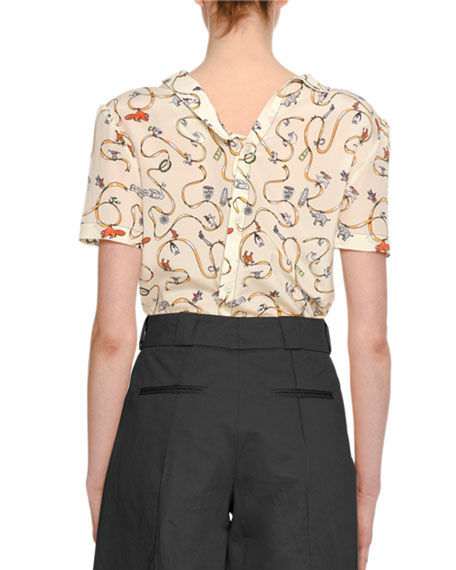 Ribbon & Charm Short-Sleeve Asymmetric-Collar Silk Blouse