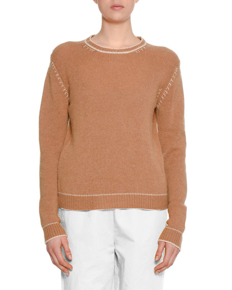 Crewneck Long-Sleeve Cashmere Knit Sweater w/ Stitch Detail