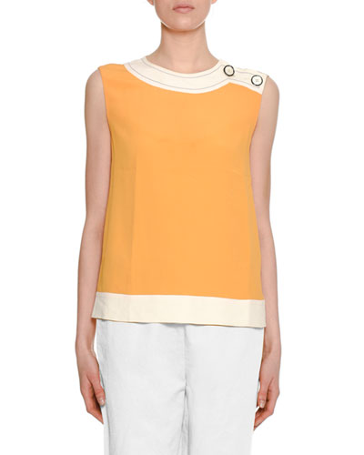 Sleeveless Two-Tone Silk Woven Blouse w/ Shoulder-Button Detail
