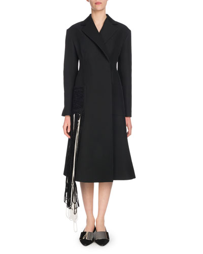Notched-Lapel Self-Belt Yarn-Fringe Wool-Blend Coat