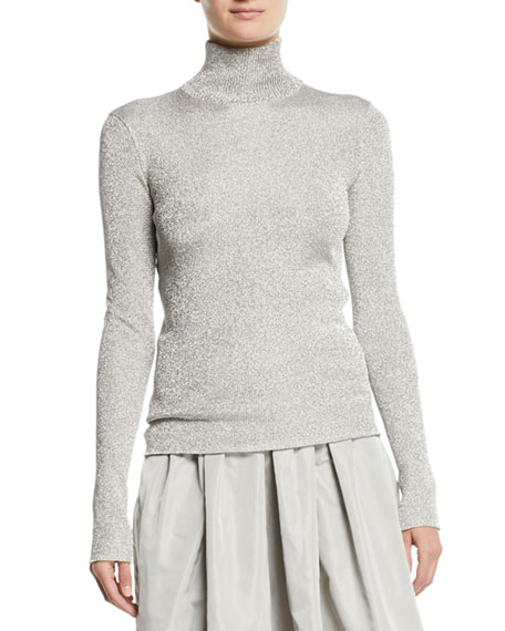 Turtleneck Long-Sleeve Metallic-Knit Sweater
