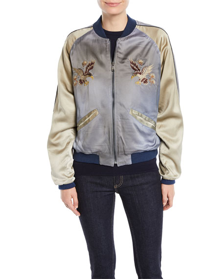 Henrique Embroidered Quilted Silk Bomber Jacket