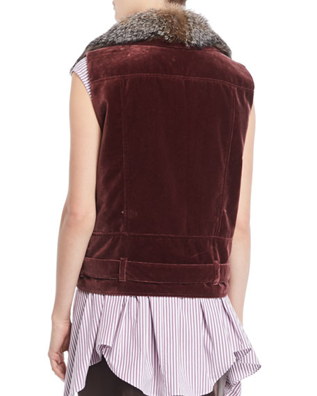 Velvet Moto Vest w/ Fox Fur Collar