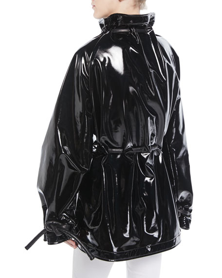 Zip-Front Corded Drawstring Lacquered Terry Short Anorak Jacket