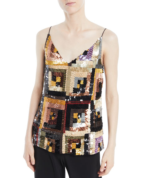 Rosetta Getty V-Neck Hand-Sewn Patchwork Sequin Camisole Top
