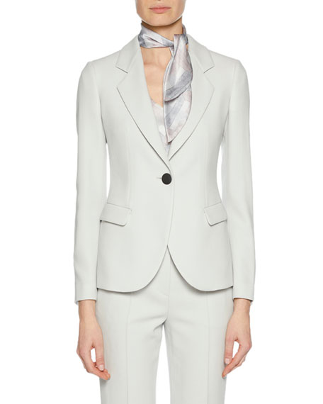 Notched-Lapel One-Button Virgin Wool Jacket