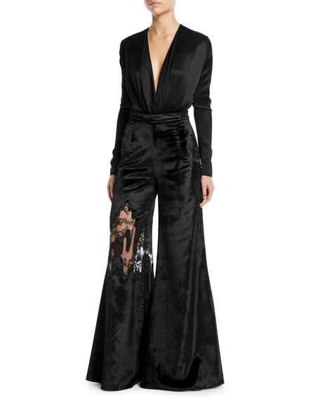 CUSHNIE High-Waist Wide-Leg Velvet Pants w/ Lace Inset