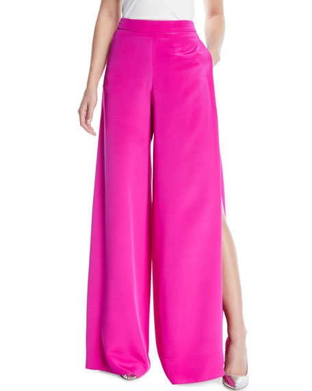 High-Waist Wide-Leg Silk Crepe Pants w/ Side Slits