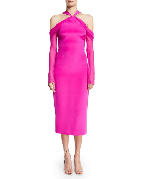 CUSHNIE Halter-Neck Pencil Tea-Length Cocktail Dress w/ Chiffon