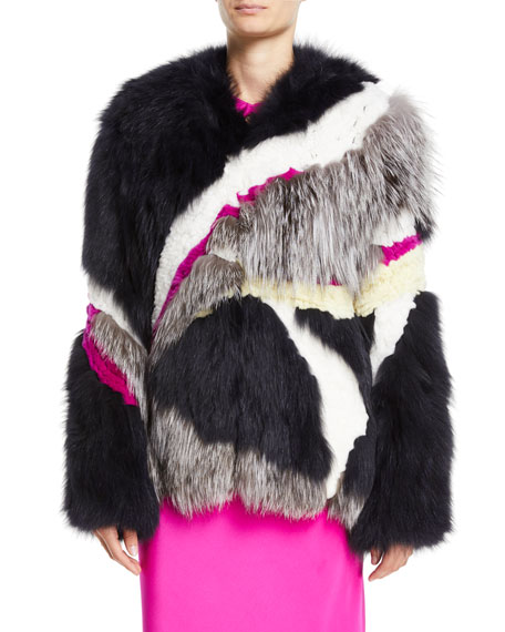 Mixed-Fur Mid-Length Coat