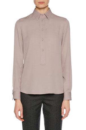 Giorgio Armani Long-Sleeve Button-Front Stretch-Silk Blouse